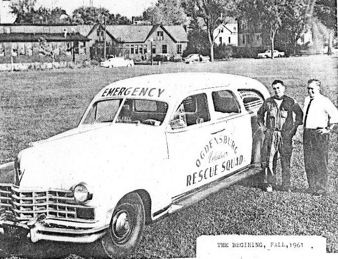 First Ambulance - 1948 Cadillac  Donated by Charles Fox Pictured - Tom Sequin & Bill Abbott