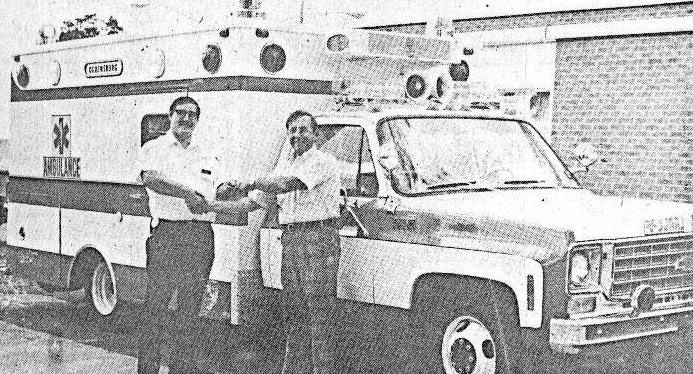 1976 - First Modular Ambulance - $21,900  Pictured - Jerry Reed & Salesman Dick Stultz